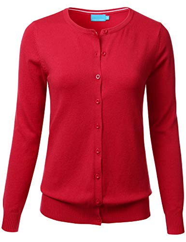 Women's Button Down Crew Neck Long Sleeve Soft Knit Cardigan Sweater RED ()