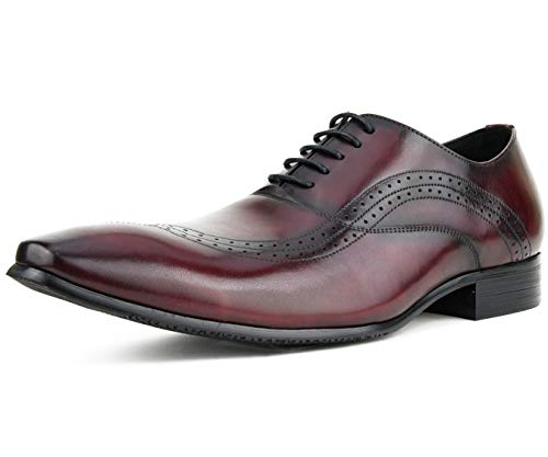 Asher Green Men's Genuine Leather Contemporary Bal Oxford with a Unique Flowing Perforated Wing Tip Design, Style AG181 Burgundy