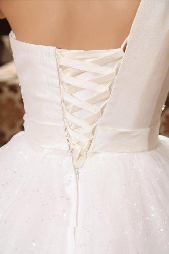 Ballkleid 1 Dearta Schulter Damen Elfenbein Kleidungen Tüll Bodenlang Perlenstickerei Pailletten Mit awPOxEqPt