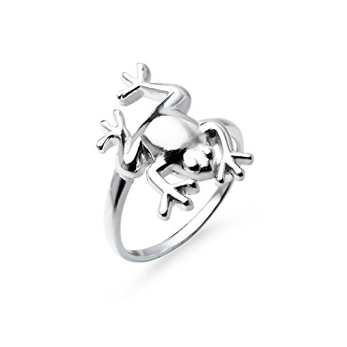 Sterling Frog Silver Ring - Large Leaping Frog Sterling Silver Band Ring, Ring Size 9