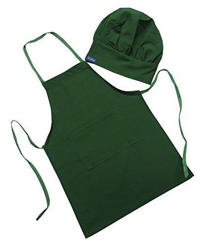 CHEFSKIN Green Starbucks Color Barista Set Apron & Hat Fits 2-8 Yr Olds Kids Children -