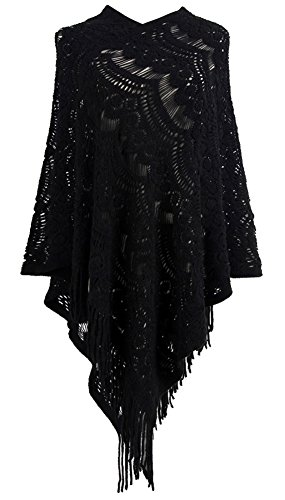 QZUnique Women's Sweater Cape Pullover Lace Shawl Tassles Knit Poncho-Like Wrap