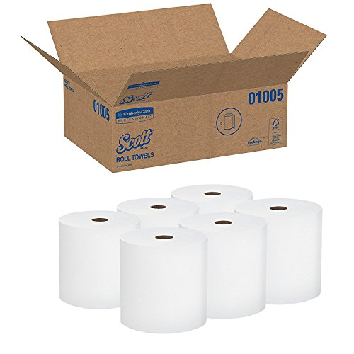 Scott High Capacity Hard Roll KIvqog Paper Towels (01005), White, 6 Count (Pack of 5) by Scott