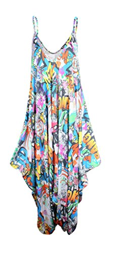 WearAll - Robe - A bretelles - Sans Manche - Femme multicolore Multicoloured -  multicolore - 46