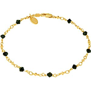 LIFETIME JEWELRY Lifetime Jewelry Black Cubes Anklet for Women 24k Gold Plated