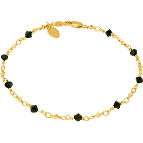 Lifetime Jewelry Ankle Bracelet [ 24k Gold Plated Chain with Diamond Shaped Black Stones ] Durable Anklets for Women Men & Girls - Cute Gold Anklet Bracelets - 9 14kt Gold Anklet Inch