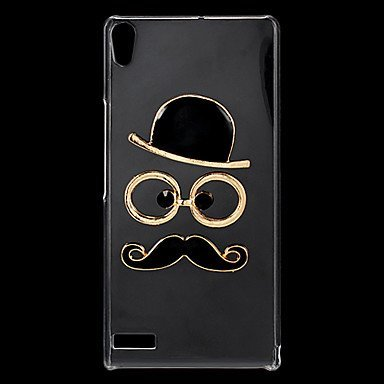 Fashion Rhinestones 3D Deluxe Hat Glasses Moustache Design Transparent Hard Back Case for Huawei P6