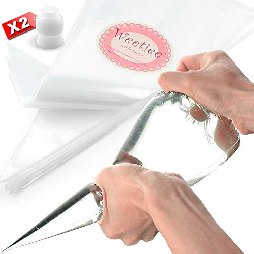 Weetiee Pastry Piping Bags -100 Pack-16-Inch Disposable Cake Decorating Bags Anti-Burst Cupcake Icing Bags for all Size Tips Couplers and Baking Cookies Candy Supplies Kits - Bonus 2 Couplers -