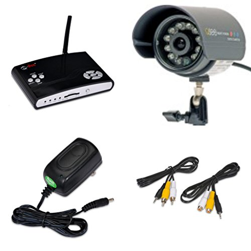 Q-SEE Surveillance Indoor/Outdoor Security System DVR Kit 1 QSW1001R Wireless Video Recorder with 1 60' Wired Weatherproof Night Vision CMOS Color LED Camera with Audio ()