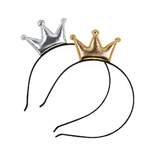 Love Sweety Girls Shiny Crown Headband Birthday Party Crown Hairband (Gold Sliver 2pc) -