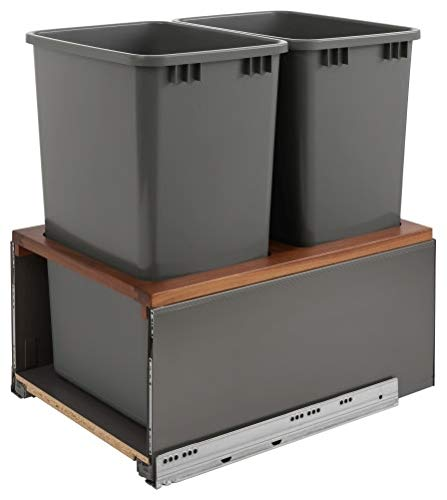 Rev-A-Shelf 5LB-1850OGWN-213 Legrabox Series 18 Inch Bottom Mount Double Bin Trash Can with Lid and Blumotion Slides - 50 Quart - Series Bottom Professional Mount