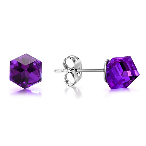 Purple Swarovski Crystal Cube - J.Fée Swarovski Crystal Aurora Borealis Square Hypoallergenic Silver Tone Colorful Cubic CZ Earrings Gifts for Her (Purple)
