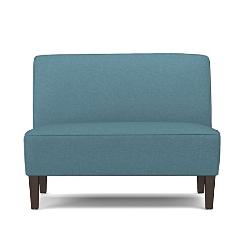 Portfolio Wylie Caribbean Blue Linen Armless Settee | Ideal for Small Space Living – Dark espresso