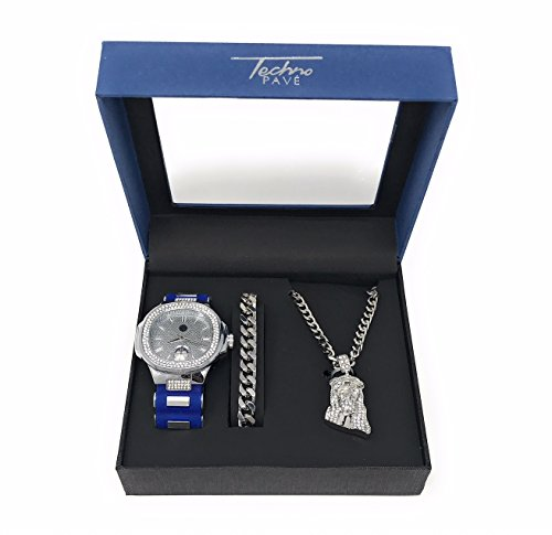 Men's Hip Hop Silver Watch and Iced Out Jesus Pendant on Silver Chain with Matching Bracelet Gift Set (Silver Set Watch Pendant)