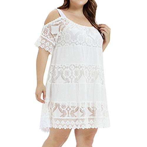 Zlolia Plus Size Lace Floral Cut Straight Dresses for Women Short Sleeve Round Collar Off Shoulder Dress Fit Party (Stripes Graduation Announcements)