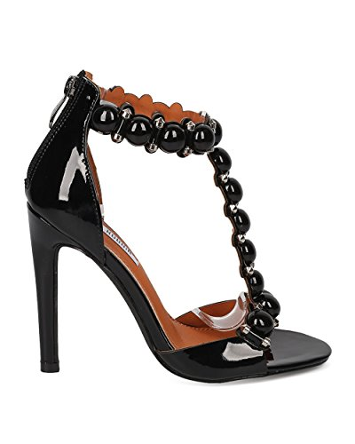 Sandalo Stiletto Con Cinturino A Tacco Con Cinturino In Pelle Con Cappuccio - Elegante, Party, Tacco Stiletto Con Borchie Formali - Ge30 By Black