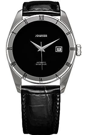 Jowissa Mens Monte Carlo Swiss Automatic Stainless Steel and Leather Casual Watch, Color