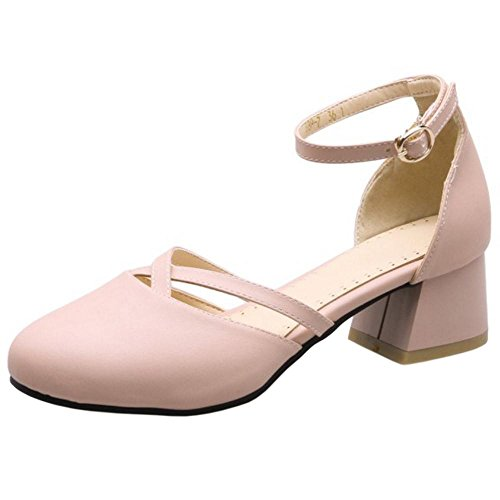 Pink Strap Ankle Heel Shoes AicciAizzi Women Chunky nUBqxY6