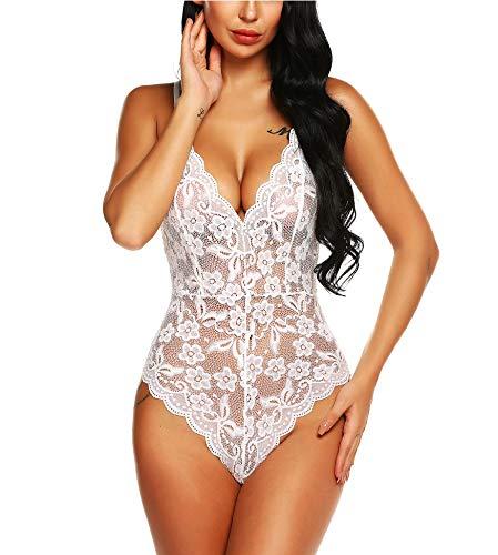 RSLOVE Women Lace Teddy Lingerie Chemise V-Neck One Piece Babydoll Mini Bodysuit White S ()