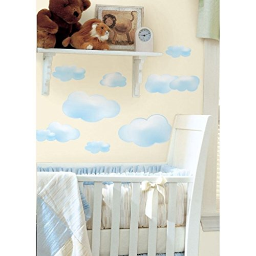 Blue Space Wallpaper Border (Lunarland CLOUDS BLUE 19 BIG Wall STICKERS Room Decor Nursery Decoration Decals Sky NEW)