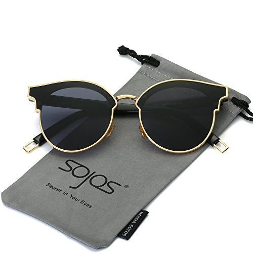 SOJOS Fashion Cateye Sunglasses for Women Oversized Flat Mirrored Lens SJ1055 with Thick Gold Frame/Grey ()