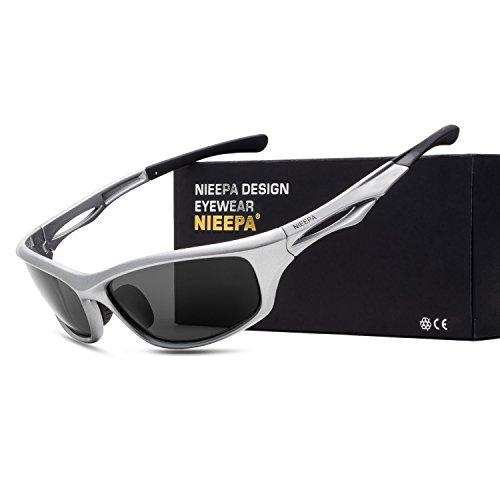 NIEEPA Polarized Sports Sunglasses Tr90 Durable Frame Glasses For Men Cycling Running Fishing Golf Baseball (Grey Lens/Silver (Polarized Gray 400 Glass Lens)