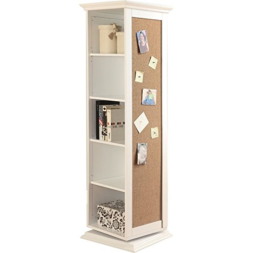 Bowery Hill Swivel Storage Cabinet with Cork Board in White