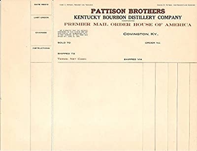 Late 1800's Pattison Brothers Kentucky Bourbon Covington Ky. Unused Invoice Bill