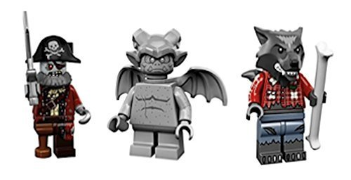 Werewolf, Zombie Pirate Captain, Gargoyle : Lego Collectible Minifigures Series 14 Monsters, Zombies, Halloween Custom Bundle 71010 -