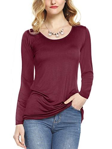 Amoretu Womens Long Sleeve T-Shirts Slim Fit Scoop Neck Longline Tee Burgundy XL