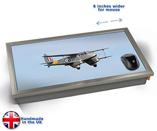 KICO DH89 Dragon Rapide de Havilland Aviation Plane Cushioned Bean Bag Laptop Lap Tray Desk - Built-in EMF Shield (Electro Magnetic Field) - Chrome Effect Frame