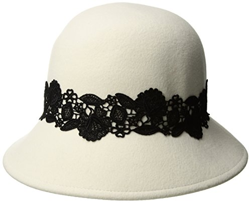 San Diego Hat Company Women's 2.5 Inch Brim Coche with Black Lace Trim, Ivory, One Size ()