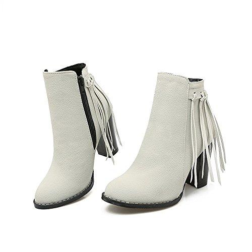 Allhqfashion Mujeres Round Closed Toe Low-top High-heels Botas De Gamuza Imitación Sólida Gris