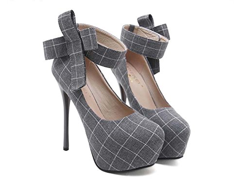 Pump para 34 Zapatos Mujeres cm Corte Zapatos correa Lattice cm Onfly Eu Ronda 5 tobillo Bowknot Culb Gruesa 14 Stiletto Zapatos el Noche 40 plataforma Toe Gris Party Tamaño Colormatch t0gnqp