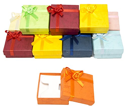 Novel Box Cardboard Jewelry Earring Tree Gift Boxes with Rosebug Bows in Assorted Colors 2.3X2.3X0.75 (Pack of 12) + NB Cleaning Cloth