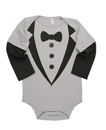 Bubby & Belle Infant Gray 3 Button Snap Suit w/Bowtie - Gray - 18-24m (Bella Onesie)