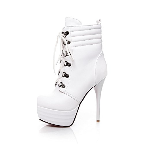 Soft Platform Womens Material Stiletto 1TO9 Boots Bandage White q4FB1v
