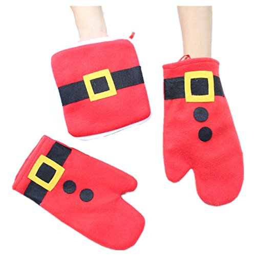 Christmas Pot (Winzik Christmas Oven Mitts 3pcs/set Non-woven Red Santa Belt Pattern Heat Resistant Pot Holder Pad Protective Glove Kitchen Household Articles Decoration Xmas Gift)