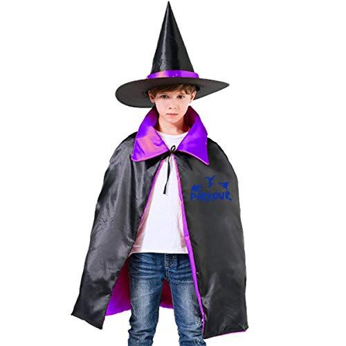 Children PARKOUR Sports Halloween Party Costumes Wizard Hat Cape Cloak Pointed Cap Grils Boys -