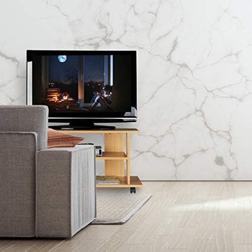 Fernseher fahrbarer Fernsehtisch Konsole /& Receiver 2 F/ächer f Relaxdays TV Board mit Rollen HBT 45x80x40 cm natur