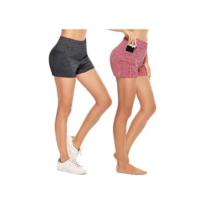 41I%2BYGpJGPL ✔ 2 piezas Pantalones cortos: cinturilla elástica, súper suave y elástica, te mantiene fresco y cómodo. ✔ Tela: tela de secado rápido para comodidad durante todo el día y se siente muy bien en la piel 93% Poliéster, 7% Elastano