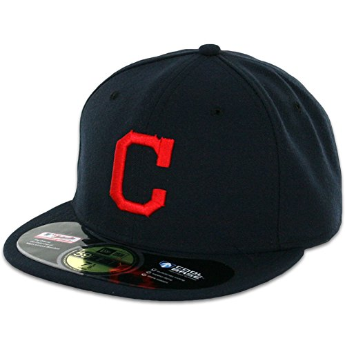 MLB Cleveland Indians Road AC On Field 59Fifty Fitted Cap-718 (Cleveland Indians Baseball Hat)