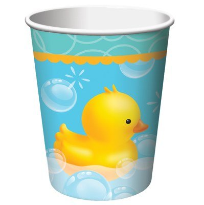 Club Pack of 96 Bubble Bath Rubber Ducky Disposable Paper Hot and Cold Drinking Party Cups 9 oz. (Ducky Paper)