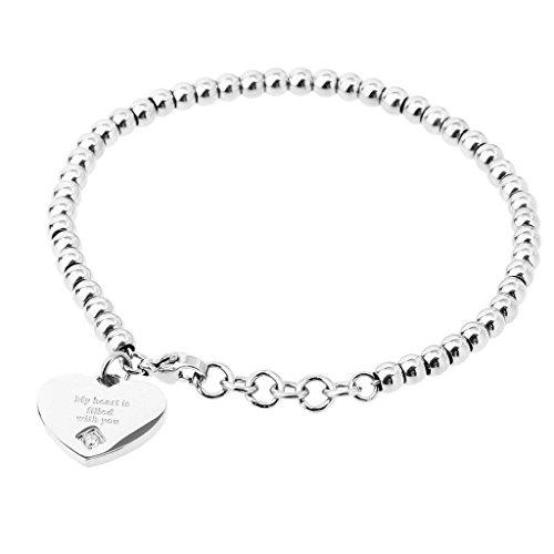 Daesar Womens Stainless Steel Link Bracelet Silver Heart Charm Bracelet Size:1.6x18.2CM (Dark Rust Pendant Mini)