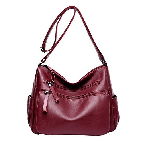 NOTAG Women's PU Leather Crossbody Bag, Casual Lightweight Shoulder Bag Multi-pocket Waterproof Clutch Handbag With Adjustable Shoulder Strap. Red