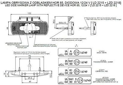 Lot De 2 Feux Gabarit Clignotant Orange 12-24V 2 Fonctions Position Laterale Pour Camion Remorque Fourgon Chassis Tracteur Hors Route VTT