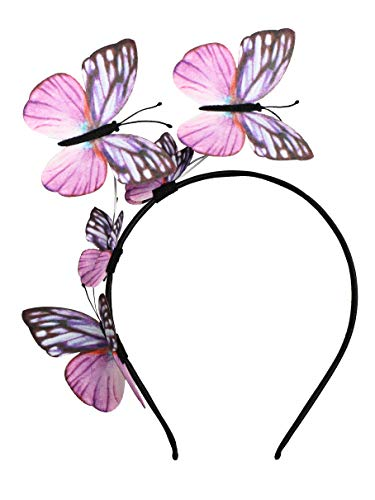 Butterfly Fascinator Hat Monarch Derby Headband Festival Crown Halloween Costume Bohemian Wedding Headpiece (A-Pink) ()