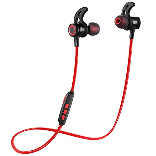 Bluetooth Headphones AMCEMIC Wireless 4.1 Magnetic Sports Earphones w/Mic IPX5 Waterproof Earbuds for Gym Running Workout Noise Cancelling - Sport Bass