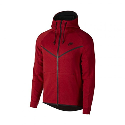949b13b9558d Galleon - NIKE Men s Tech Fleece Windrunner Fullzip Hoodie Red Black (L)