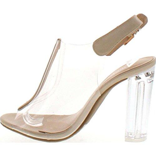 Women's Moda Toe Block Lucite Chunky Top Fenton Heel Peep 1 Sandal High Clear Strappy Beige Open R1dwxq5W